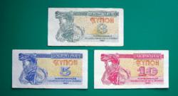Ukrajna - 3 - 5 és 10 kupon - 1991 – 3 db-os Karbovanec Bankjegy lot