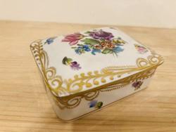 Herendi aranyozott mintás virágfestett dekoros fedeles doboz