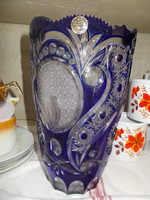 Kék ólomkristály váza