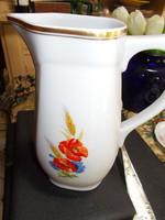 Zsolnay porcelán virág mintás, aranyozott, nagy vizes kancsó