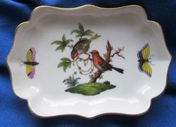 Herendi Rothschild mintás porcelán tálka, jelzett, 11 x 7,7 cm