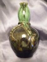 Régi fazekasmázas zöld  kerámia butélia kancsó váza hibátlan EXTRA