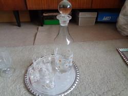 Retró pohárkészlet kiöntővel és ajándéktálcával