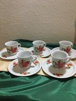 Zsolnay mikulásvirág mintás kávés csészék