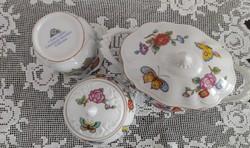 Estee Lauder Chinoiserie porcelán bonbonier, cukortartó, váza pillangó, pillangós, virágos 3 dbkal.
