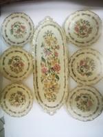 Zsolnay süteményes készlet virágok dús aranyozásfelűletén gazdag virágok