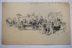 Tus rajz XIX. sz. vége XX. eleje Törley pezsgő sátor huszár hintó R.A. szigno Monarchia úri népek