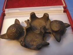 Hagenauer Walter Bosse stíl Art decó fűszertartó v.hamuzó bronzból  Cica Pár  Gyűjtői  Ritkaság