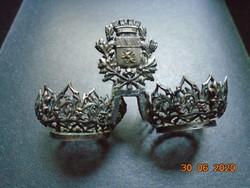 Oroszlán 4 váras koronával címeres,filigrán fűszertartó,csúcsíves,rozettás,Anjou liliomos ötvösmunka