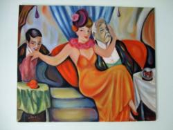 A kis huncut / art deco styl / Seres Sándor olaj festménye
