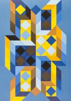 """Victor Vasarely (1906-1997) EREDETI Nagy méretű szita 1970 """"Tridimor 1969""""  mérete:64.5 x 84.5 cm."""