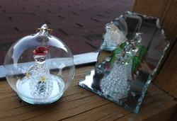Üvegműves angyal pár - egyben - karácsonyfadísz -ként is