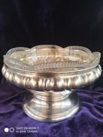 Antik ezüst (Diana) 800-as üvegbetétes (kristály)/Dávidcsillagos/ talpas kináló, asztalközép