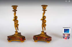 Boulle style figural candlestick in pairs
