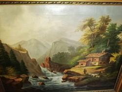 Sorensen K. 1886 jelzéssel  romantikus tájkép , olaj, vászon