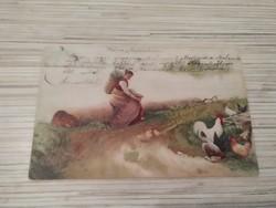 Antik Üdvözlő képeslap. (1910). Dombornyomott.