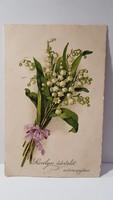 Régi gyöngy virágos képeslap, üdvözlőlap, levelezőlap 1928