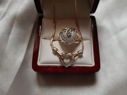Diamond and emerald gold 14 kr set