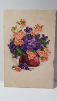 Régi ibolya virágos képeslap, üdvözlőlap, levelezőlap 1928