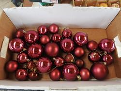 Retro  bordó gömb karácsonyfa díszek - 30 db - Karácsonyfadísz gyűjteményből