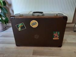 Vintage,retro csehszlovák KAZETO fa-bőr betétes bőrönd, koffer