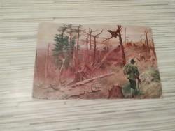 Antik képeslap. Vadász témában.