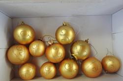 Régi dekoros aranygömb karácsonyfa díszek - 11 db - Karácsonyfadísz gyűjteményből