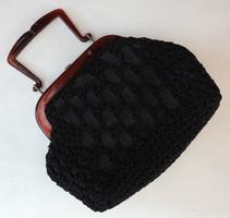 Antik fekete alkalmi táska bakelit fülekkel
