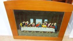 Antik szentkép, utolsó vacsora,nyomat, 93 x 78 cm, 72 x 53  cm