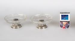 Ezüst páros üveges kínáló (kisméretű)