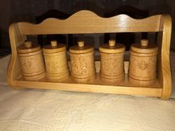 Fa Fűszertartó Polc, 5 darab tégellyel