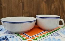 Alföldi porcelán dupla kék csíkos nagy bögre, kiöntőcsésze és kisebb tál