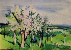 Szalóky Sándor (1921-1978) akvarell örökös garanciával