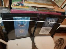 Két Vasarely offset-nyomat, egyik üvegje törött, egyik háttere sérült, a témák hibátlanok