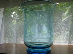 Kék hurrikán mécsestartó, váza, dekorüveg