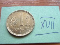 SPANYOL 1 PESETA 1980 '82 FOCI VB  XVII.