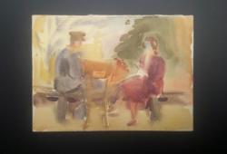 Pituk József (1906-1991) akvarell 21x30 cm - ülő pár, férfi és nő