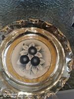 2db fém porcelán gyümölcsös tál