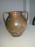 Antik népi  cserép alföldi kétfülű fazék  Karcag 28 cm