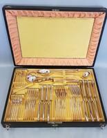 Angol fazonú, antik ezüst evőeszköz készlet dobozban 6 személyes, 48 darabos