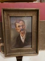 Mesterházy Dénes festmény, portré, olaj, karton, 24x34+szép keret
