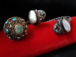 Antik ezüst ékszer szett türkiz kövekkel