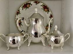 Angol elegancia ezüstözött  teás 3 db -os szett