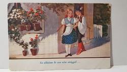 """Régi """" Kis ablakom be van nőve virággal.."""" képeslap, üdvözlőlap, levelezőlap"""
