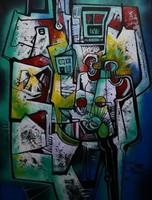 Simeon Gonzales -Paisaje en Azul  100x75 cm