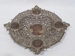 3455 Antik bronzírozott öntöttvas kínáló tál