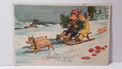 """Régi képeslap """"Boldog Új évet"""" üdvözlőlap, levelezőlap 1932"""