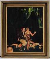 "Charleston táncos pár, 1920-as évek, art deco festmény, aláírva: ""HS Rome 1920"""