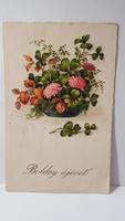 """Régi képeslap """"Boldog Újévet"""" üdvözlőlap, levelezőlap 1932"""