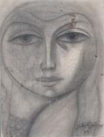 Angyalföldi Szabó Zoltán - Női arc 68 x 51 cm szén, papír keretezve